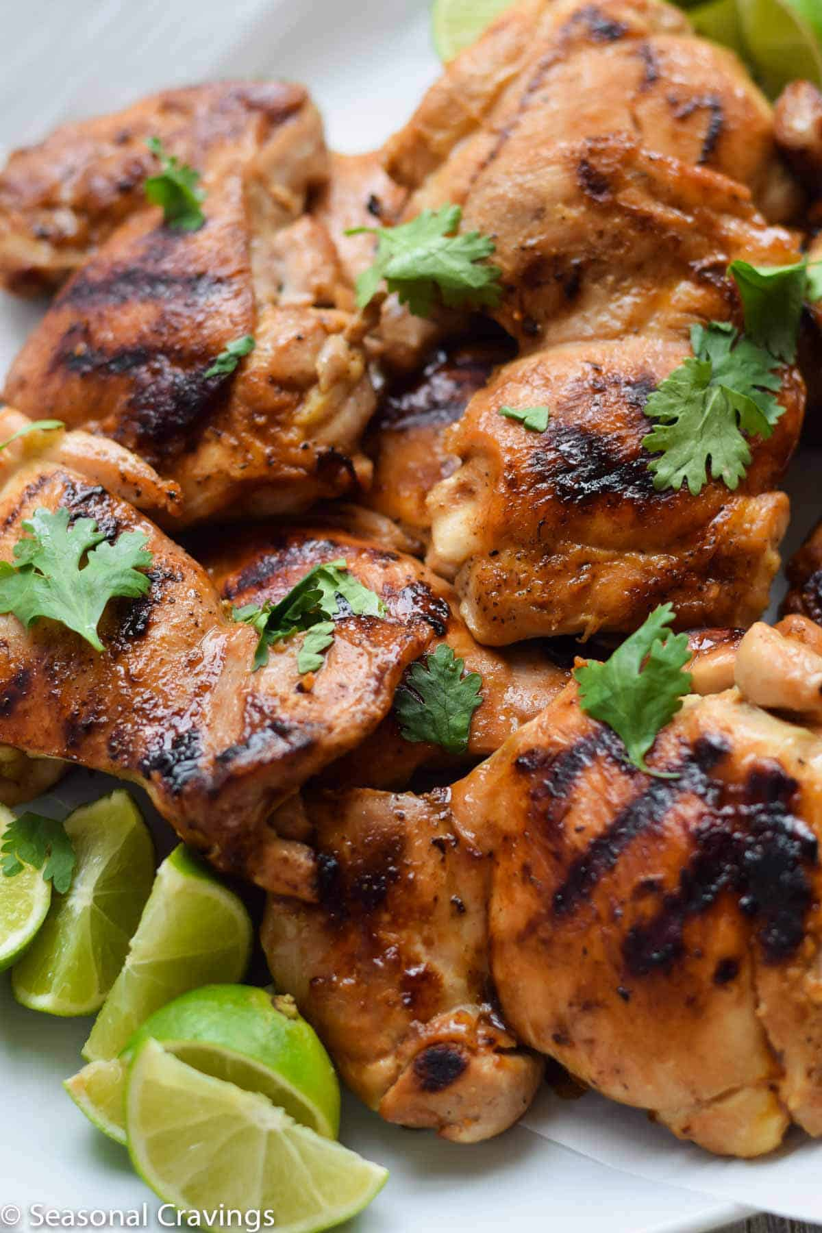 Close up of Ginger Honey Glazed Chicken with parsley