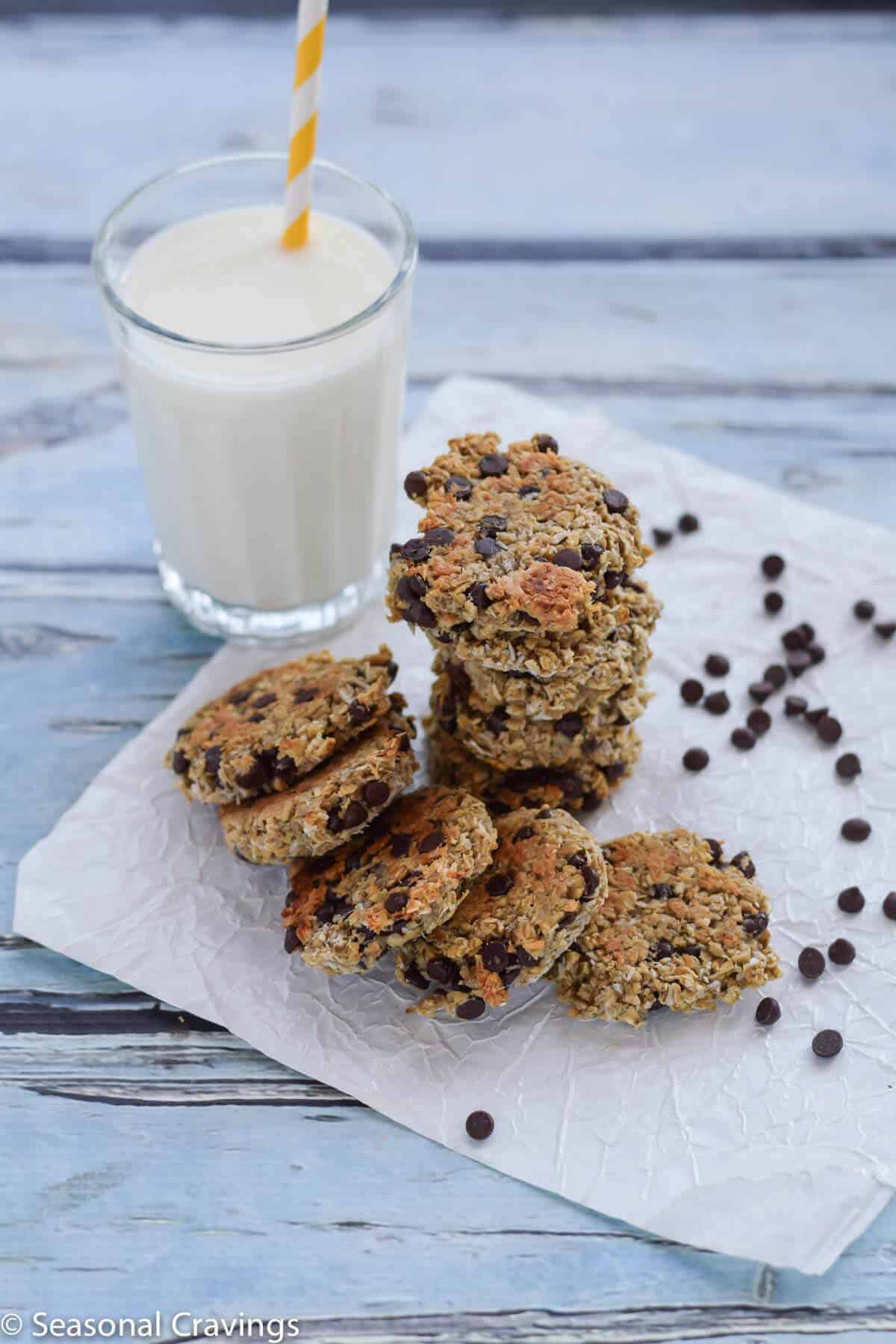 Gluten Free Breakfast Cookies with a glass of milk on blue background