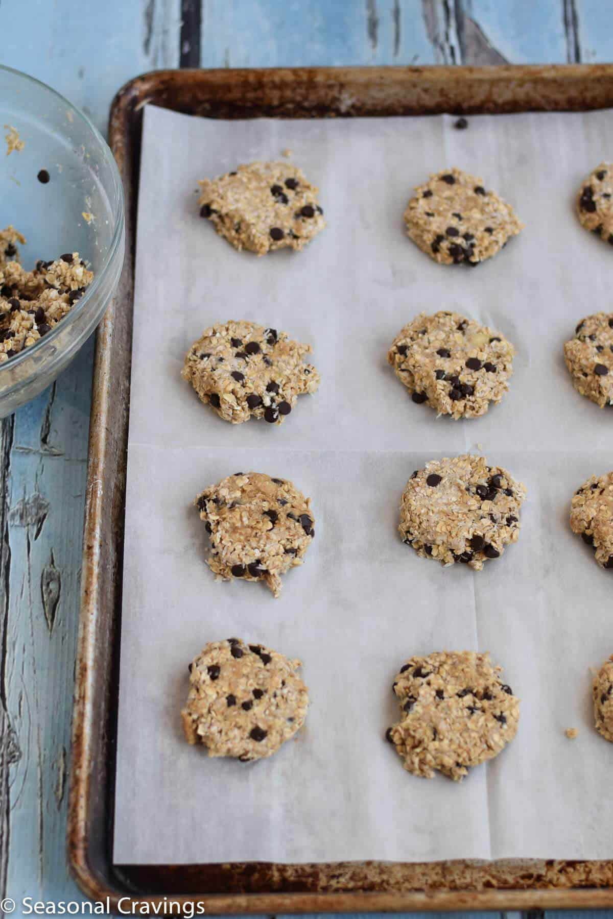 Gluten Free Breakfast Cookies on parchment paper on a cookie sheet