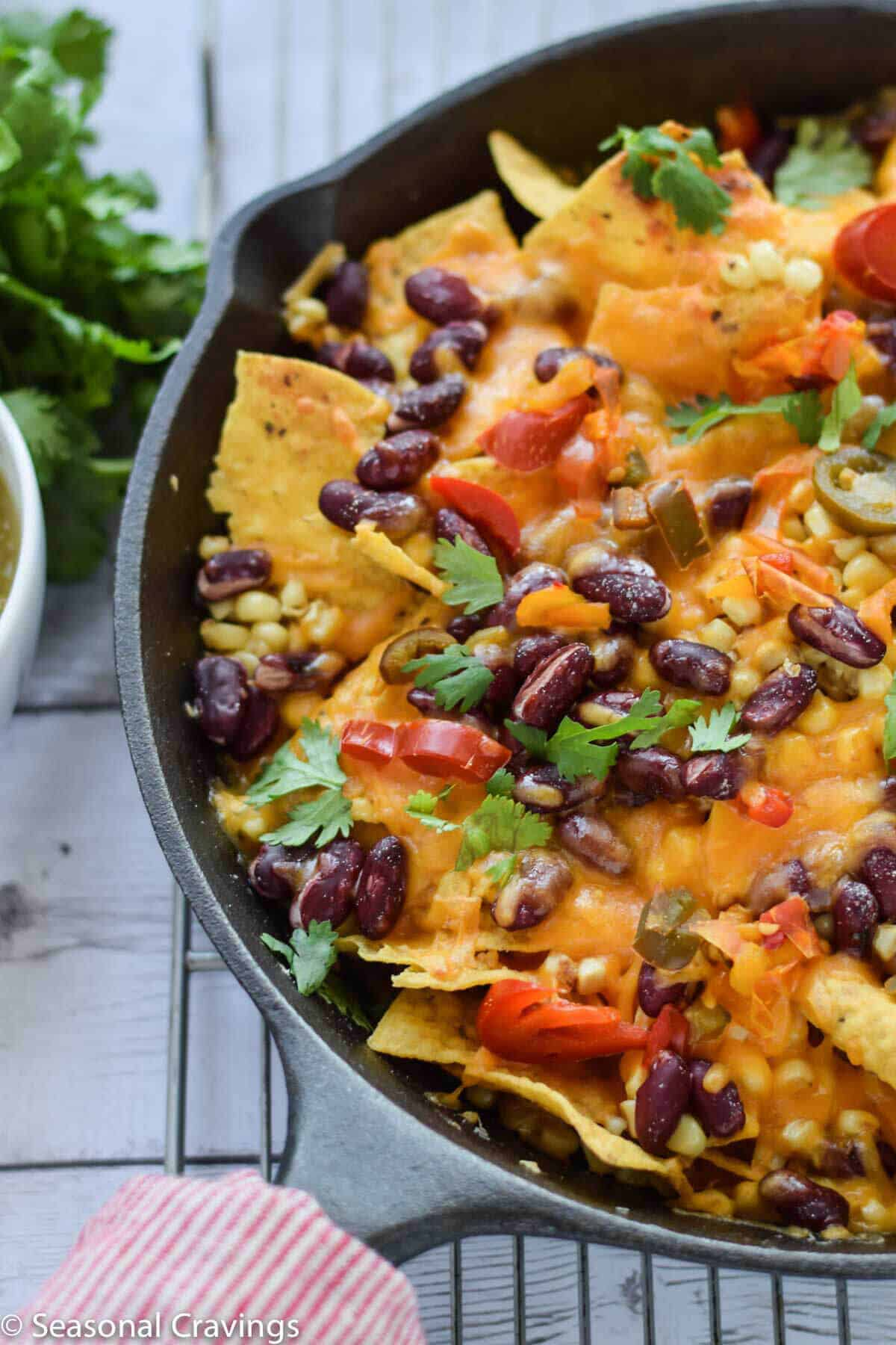 Bean Nachos in a skillet