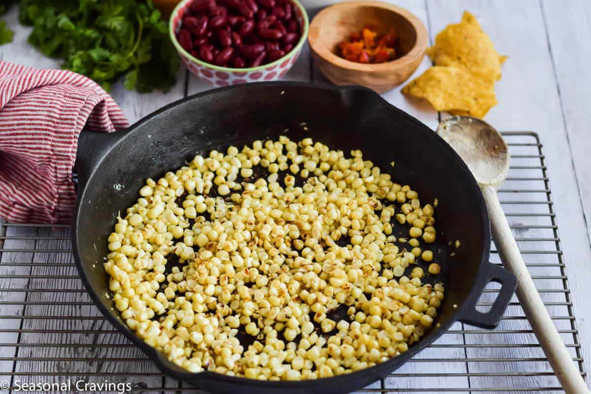 Bean Nachos with fresh corn