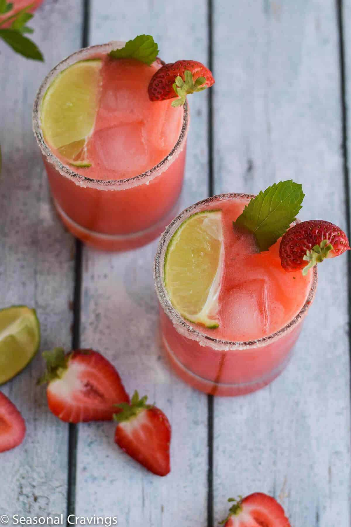 Strawberry Lime Gin Rickey