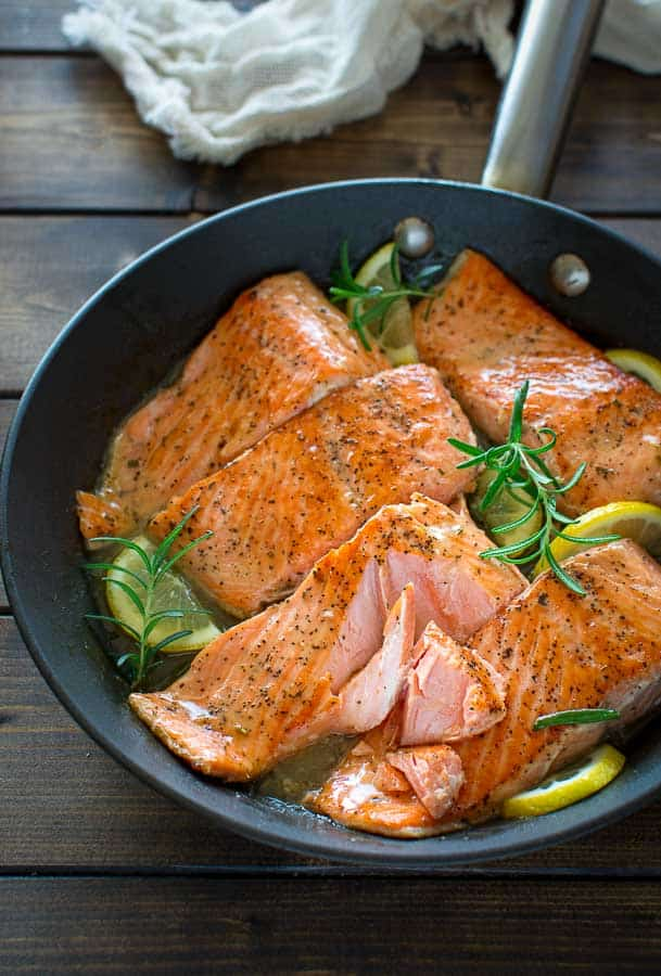 Lemon Rosemary Salmon in a skillet