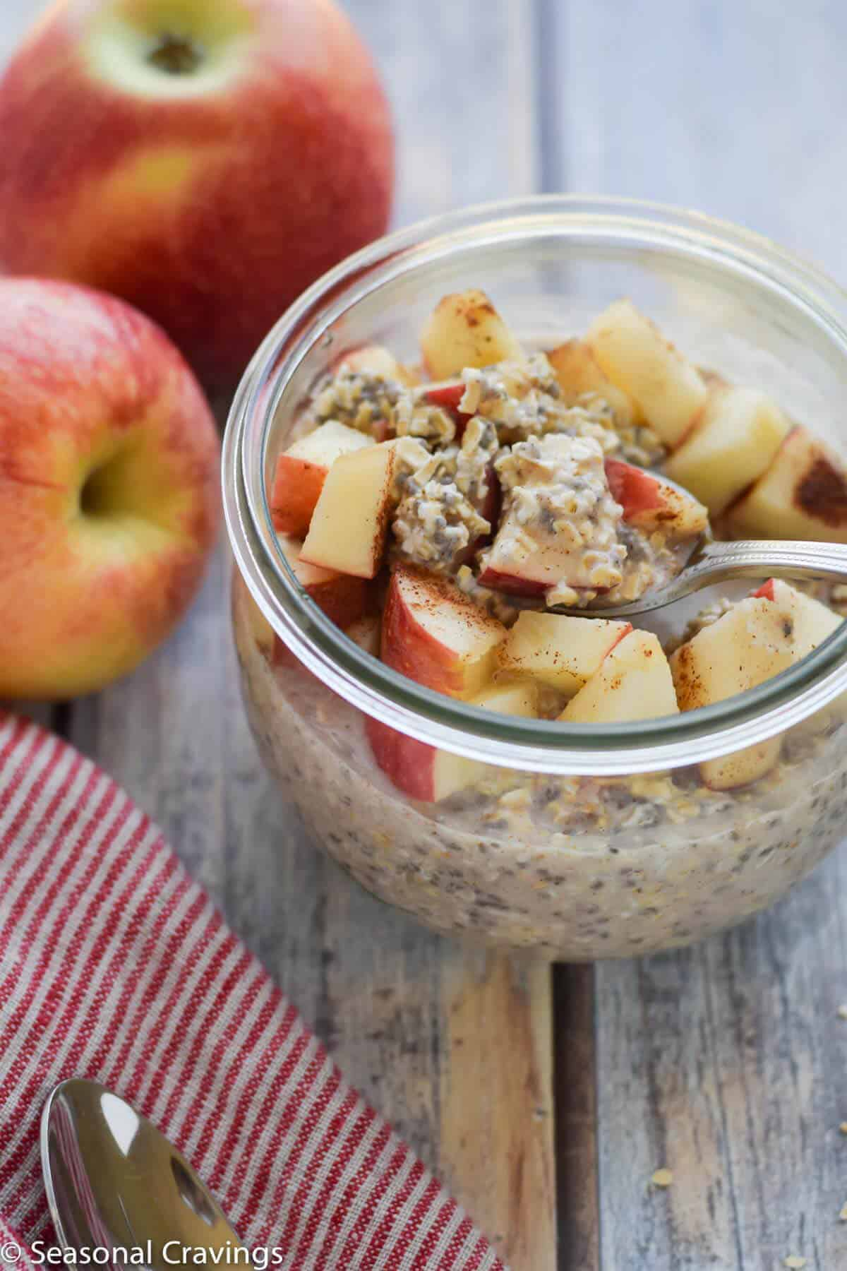 Oats with a spoon and apples on the side