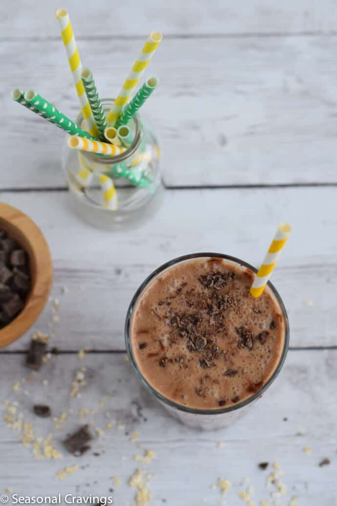 Coffee Banana Oat Smoothie rich, creamy and sweet smoothie in glass with yellow straw