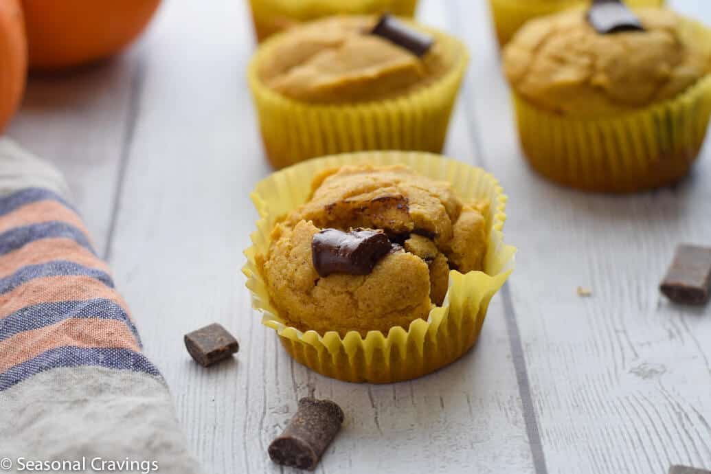 Close up of Chocolate Chip Almond Flour Pumpkin Muffins