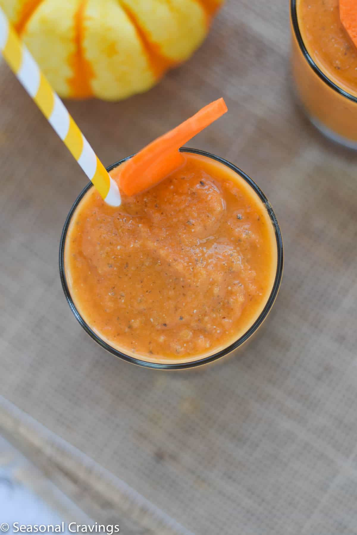 Close up of Mango Carrot Chia Smoothie