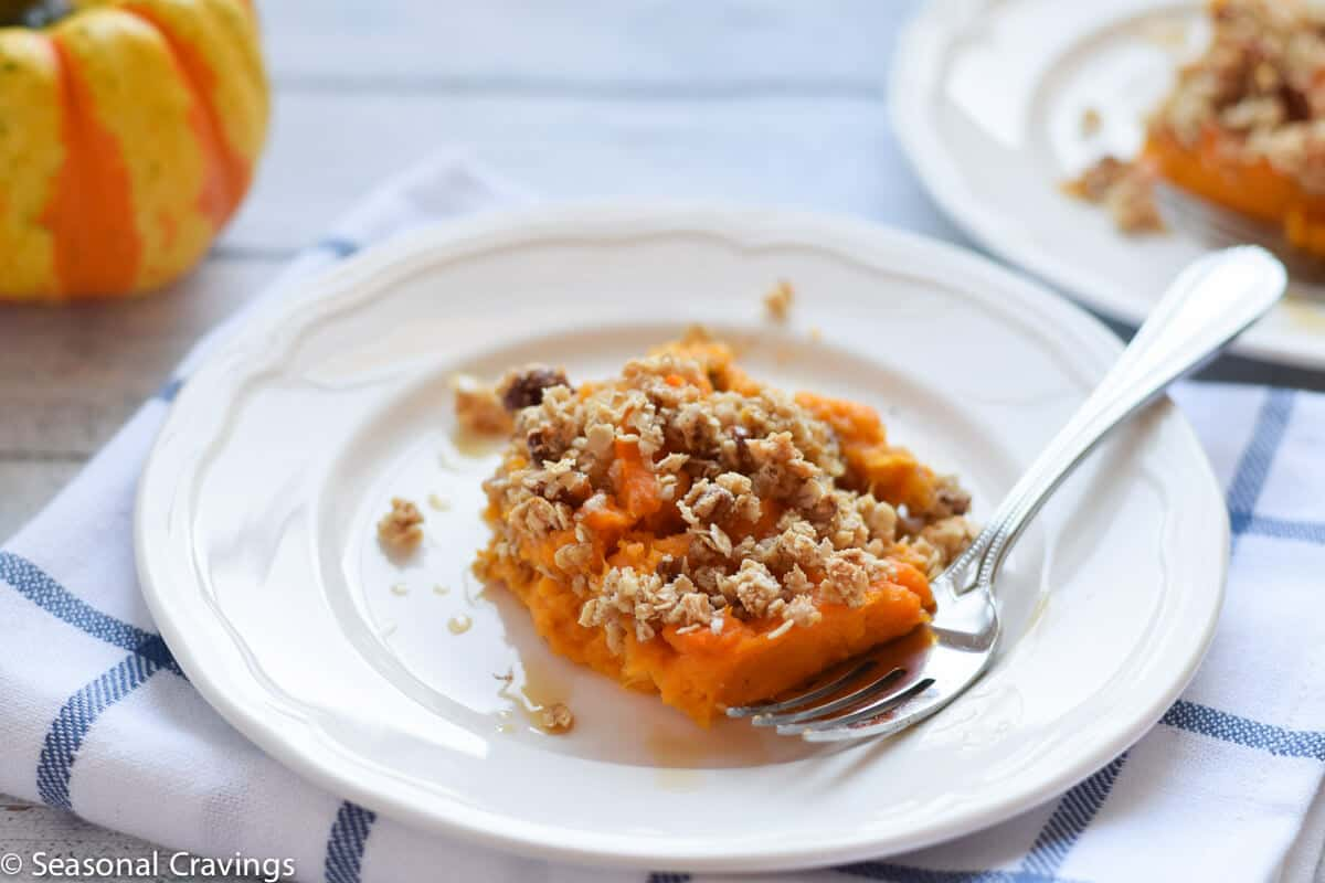 Gluten Free Sweet Potato Casserole one serving on small white plate