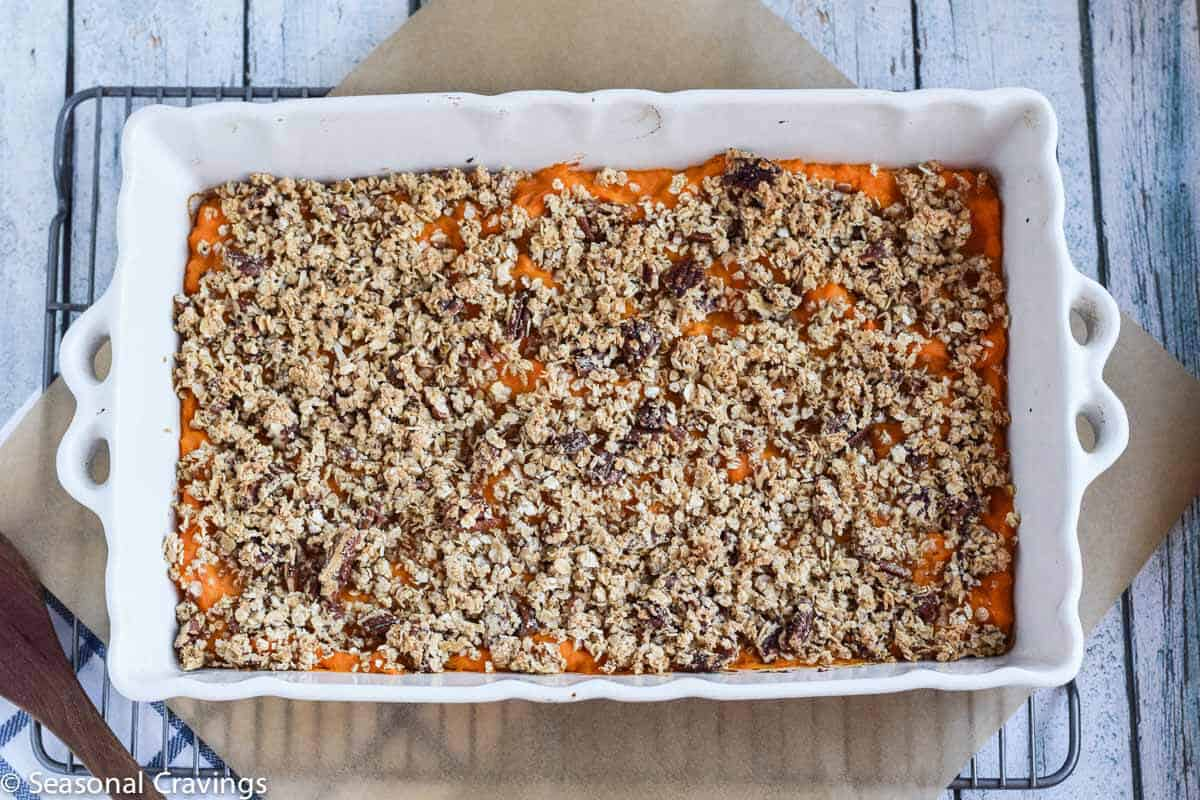 Gluten Free Sweet Potato Casserole recipe fresh from the oven