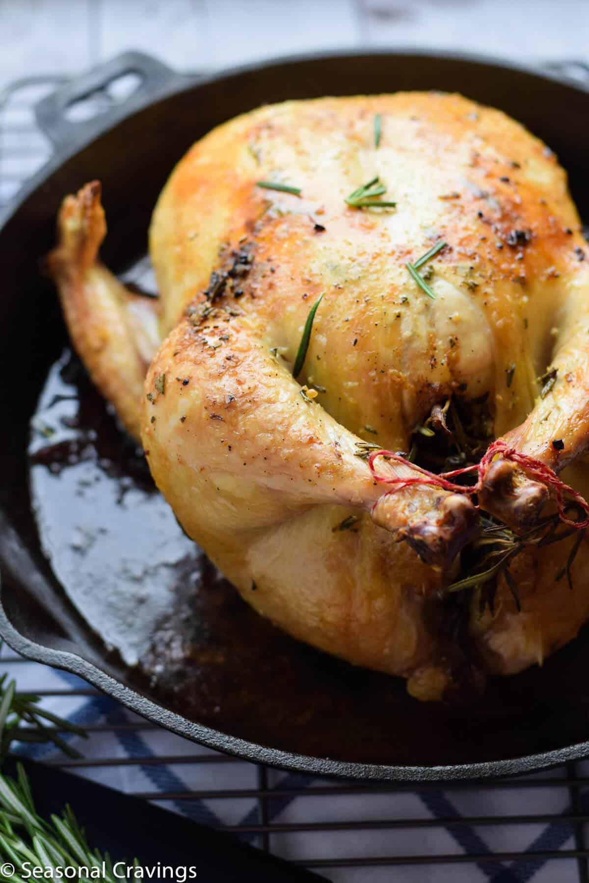 Roasted Rosemary Lemon Chicken - moist and delicious chicken close up