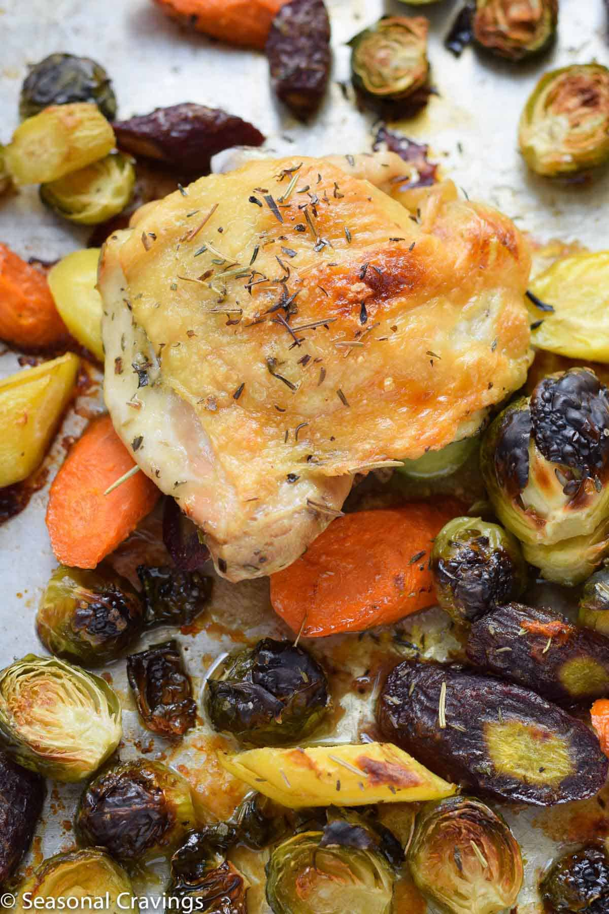 Sheet Pan Chicken and Brussel Sprouts- This Sheet Pan Chicken and Brussel Sprouts- roast chicken with brussel sprouts and carrot made on a sheet pan. {gluten free, paleo, whole30}