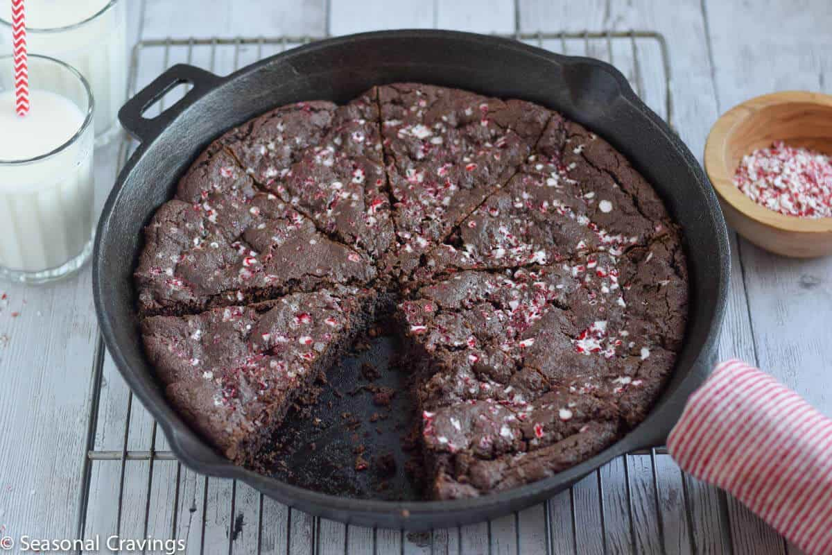 Chocolate Peppermint Skillet Cookie - full of chocolate chips and peppermint flavor and made simply in a skillet