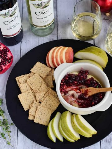 Brie with Cranberry Pomegranate Sauce