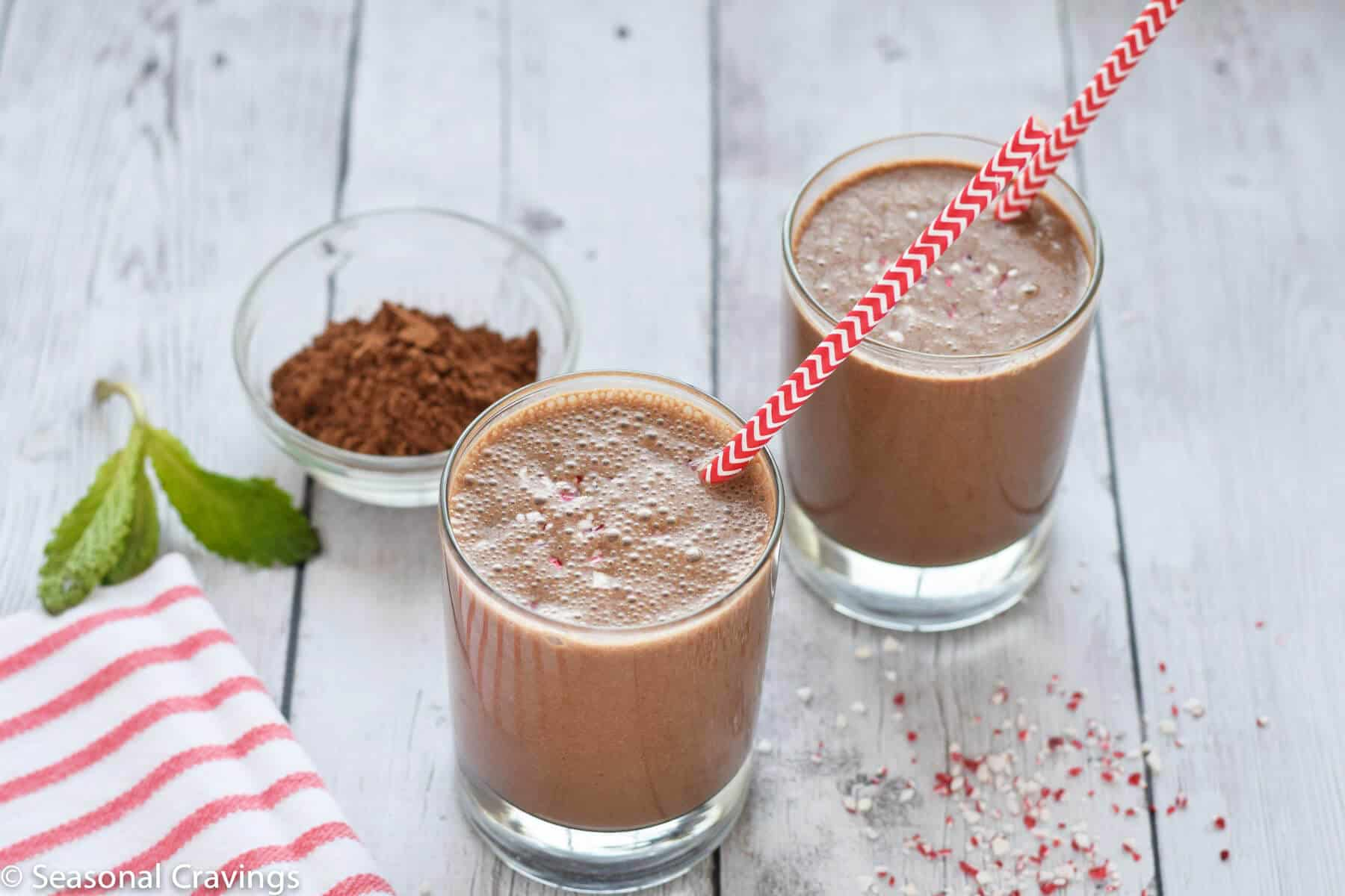 Healthy Mint Chocolate Smoothie - healthy dessert for breakfast that is full of protein {gluten free}