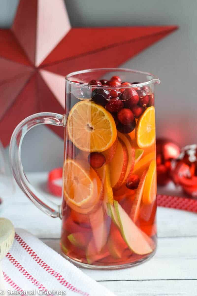 White Sangria in a pitcher with a red star in background