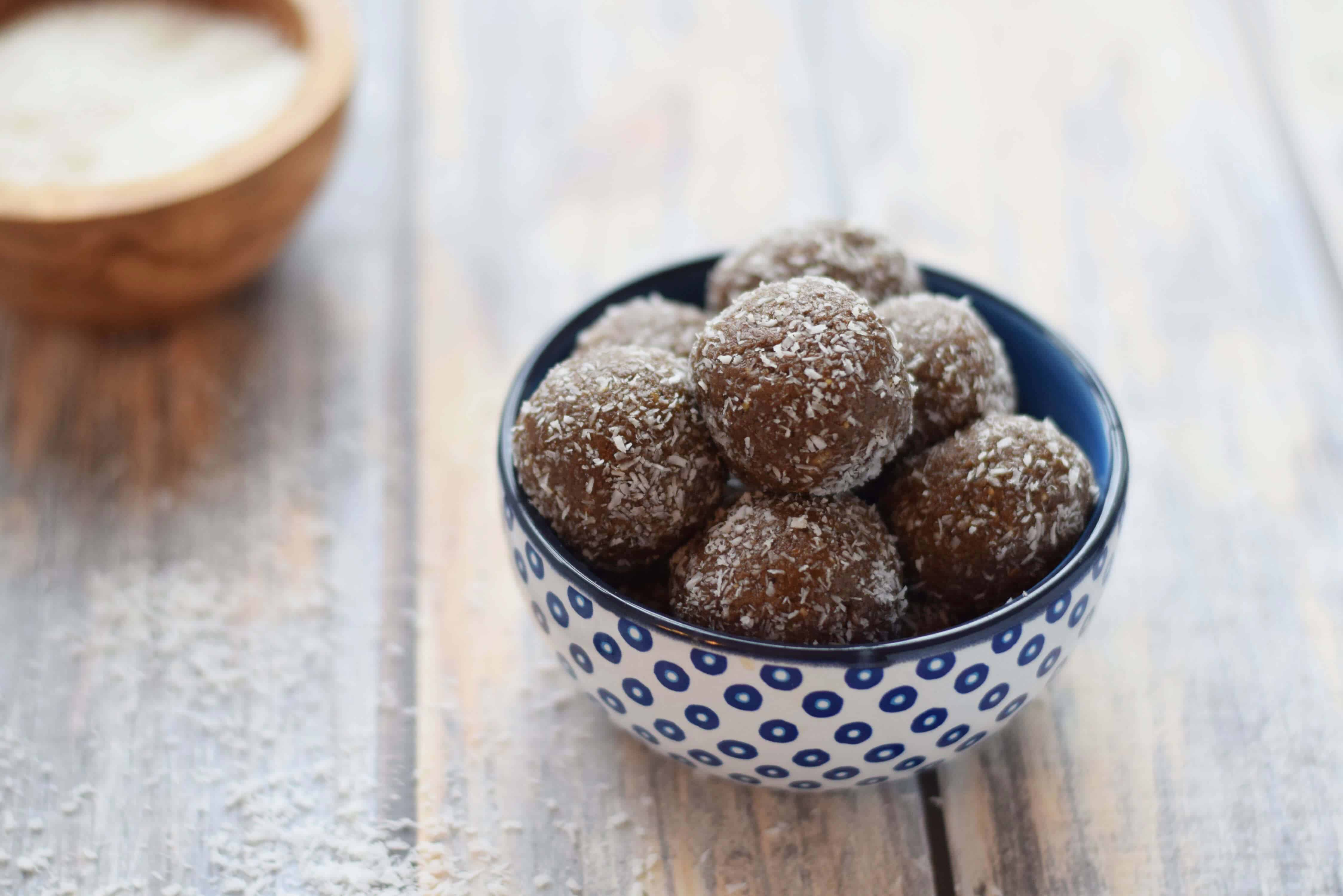 Chocolate Almond Butter Protein Balls easily made with four ingredients