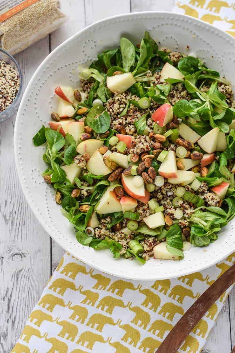 Detox Quinoa Salad with Turmeric Tahini Dressing - Seasonal greens topped with a delicious creamy tahini dressing. {gluten free, whole30, paleo, vegan, dairy free}