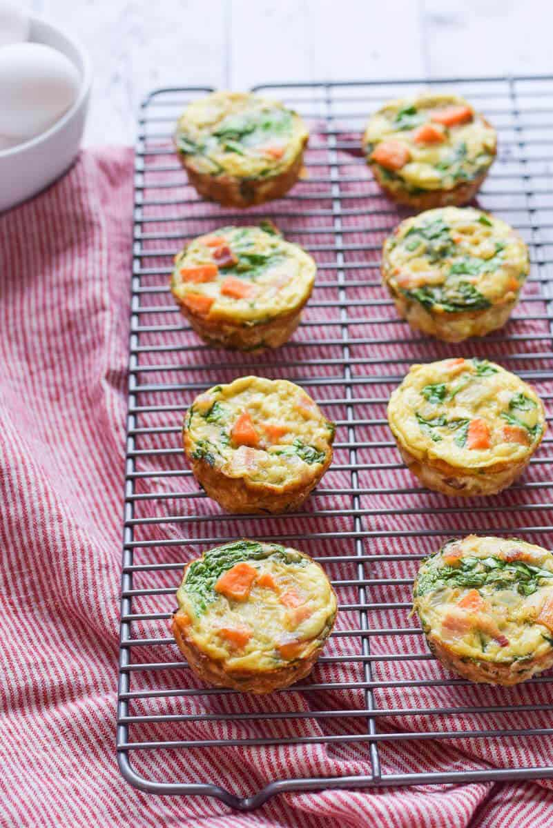 Paleo Quiche Cups with sweet potatoes and spinach