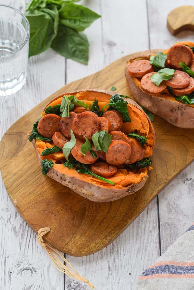 Sausage Stuffed Sweet Potatoes - full of protein and greens {gluten free, paleo, whole30}