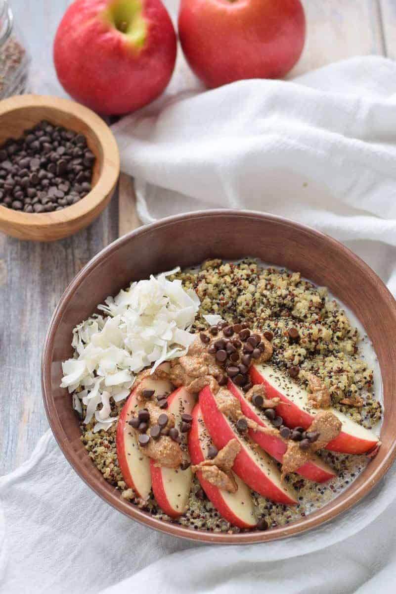 Quinoa Breakfast Bowl with chocolate and almond butter