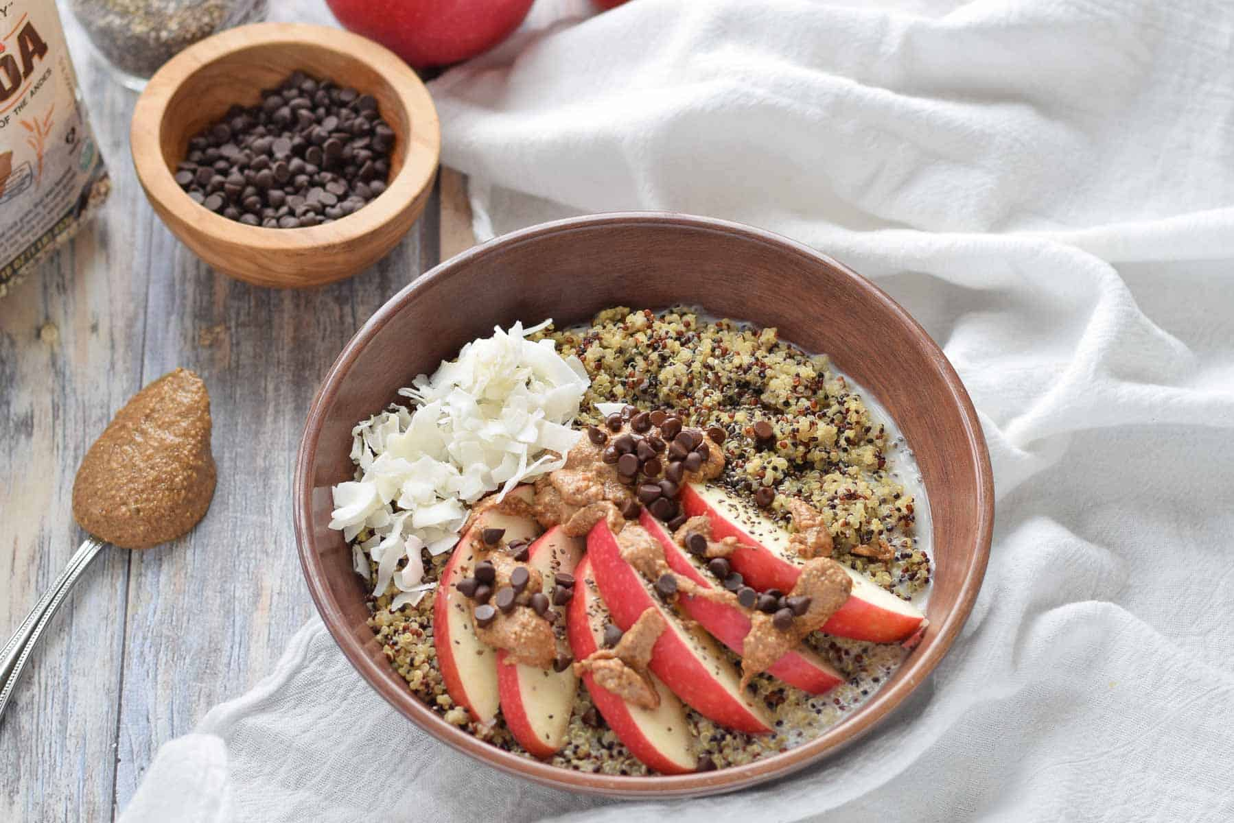 Quinoa Breakfast Bowl  with chocolate and apples.