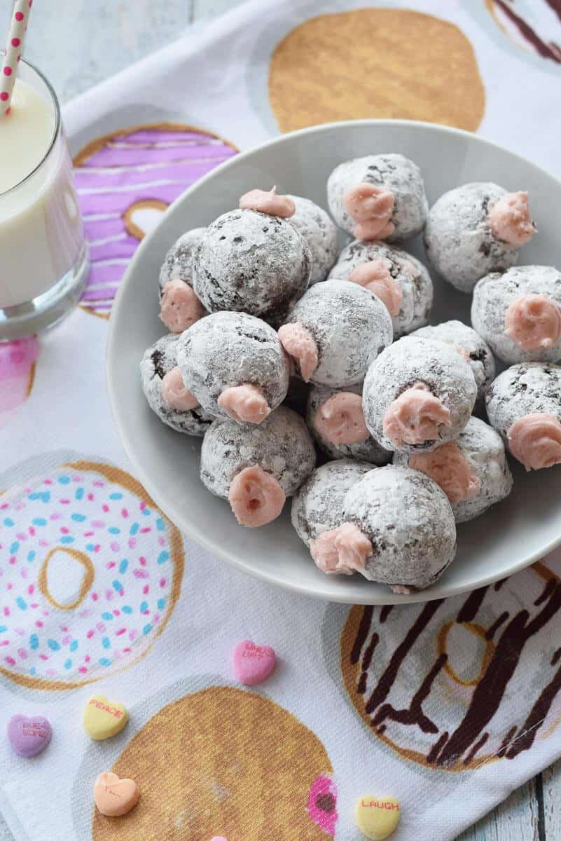 Chocolate Donut Holes with Pomegranate Cream Filling - sweet, fluffy breakfast treats that are gluten free.