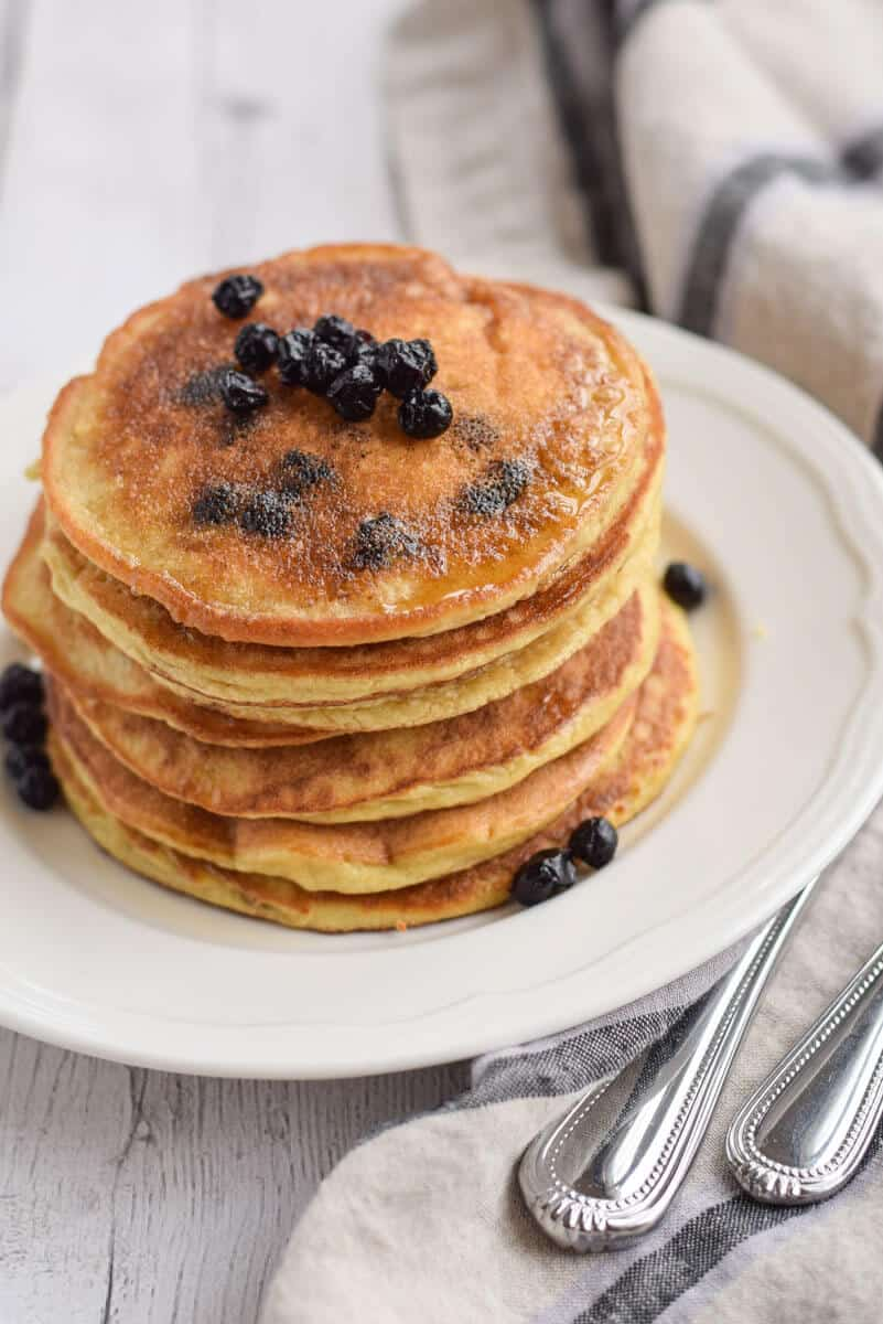 stack of paleo blueberry pancakes