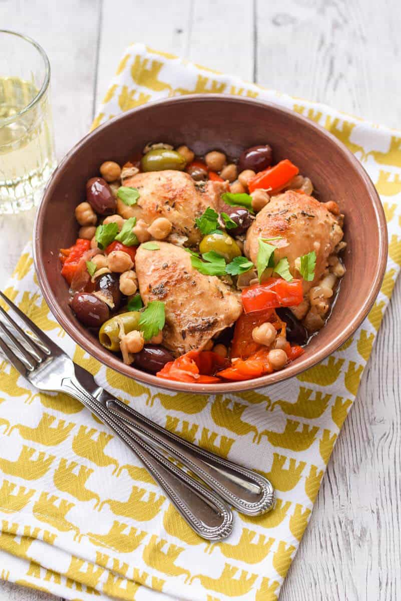 Slow Cooker Chicken with Olives and Peppers - Tender chicken with a salty, flavorful sauce made in a Crock Pot. {gluten free}