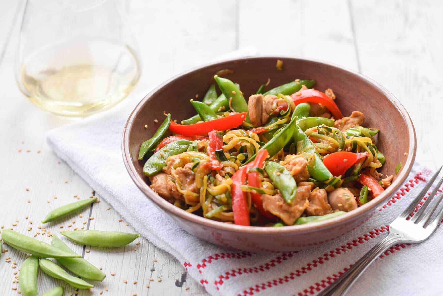 Zucchini Noodle Stir Fry with Chicken and snap peas