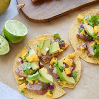 Pork Tostadas with Mango Salsa