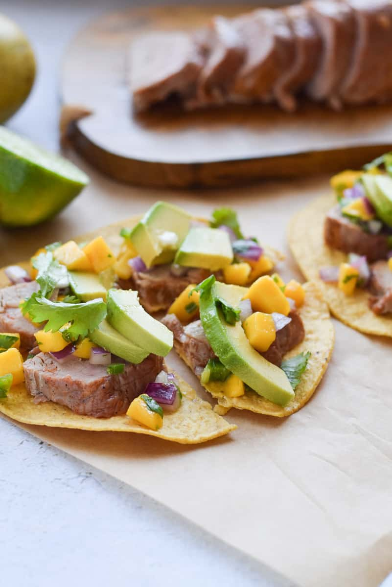Pork Tostadas with Mango Salsa are fresh, healthy and easy to prepare.
