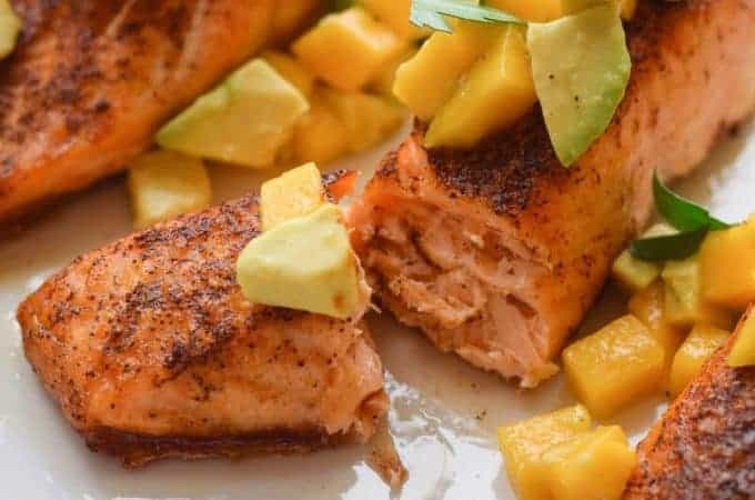Skinny Chili Salmon with Avocado and Mango