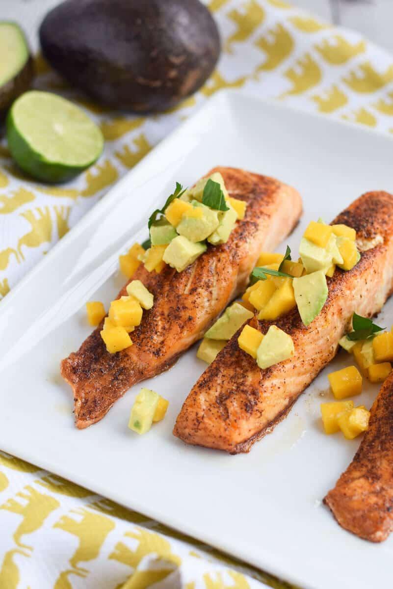 Salmon with avocado and mango salsa