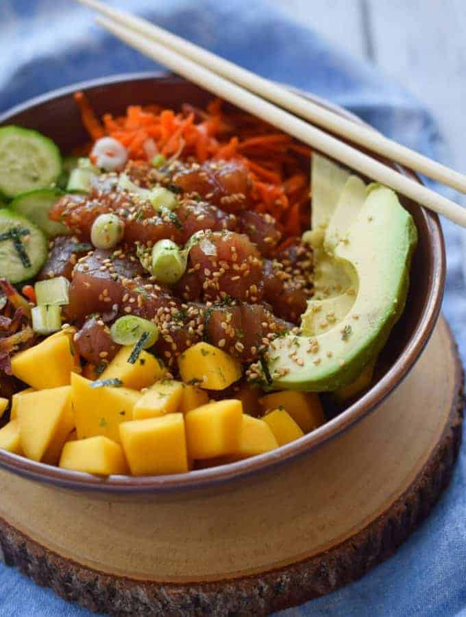 Tuna Poke Bowl with Mango and Quinoa