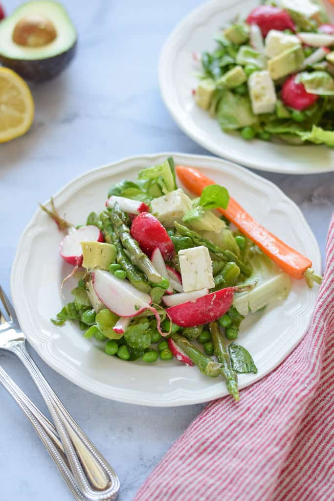 Spring Green Salad with Asparagus - full of healthy asparagus, radishes, peas and topped with feta cheese. {gluten free}