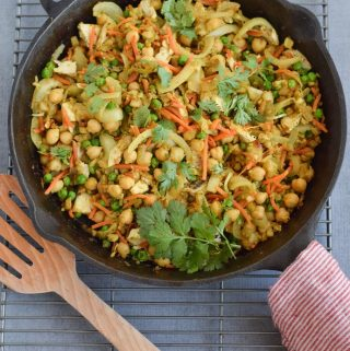 Indian Cauliflower Rice in cast iron skillet