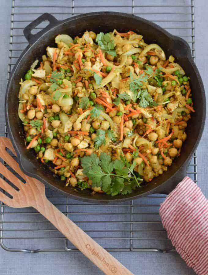 Indian Cauliflower Rice in cast iron skillet