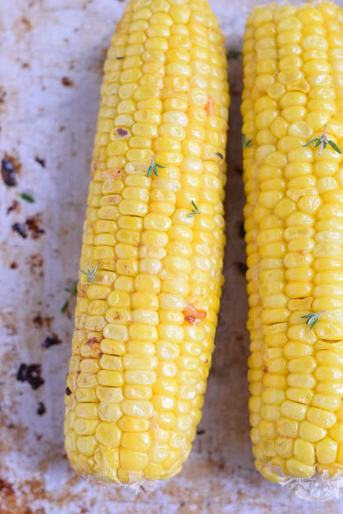 Oven Roasted Corn on sheet pan with butter