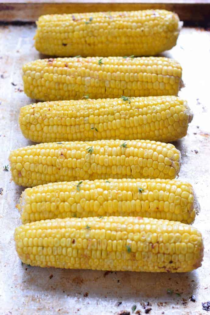 corn in the oven with butter and thyme