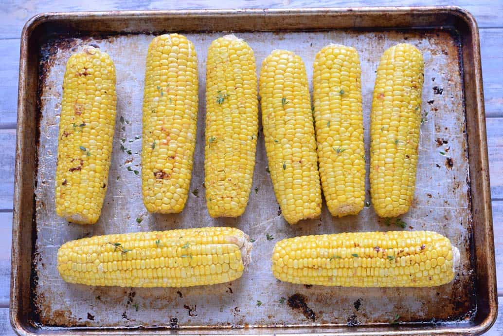 Oven Roasted Corn on the cob with butter and thyme