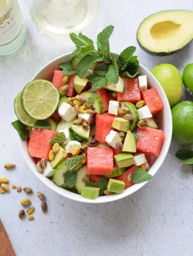 Watermelon Feta and Cucumber Salad