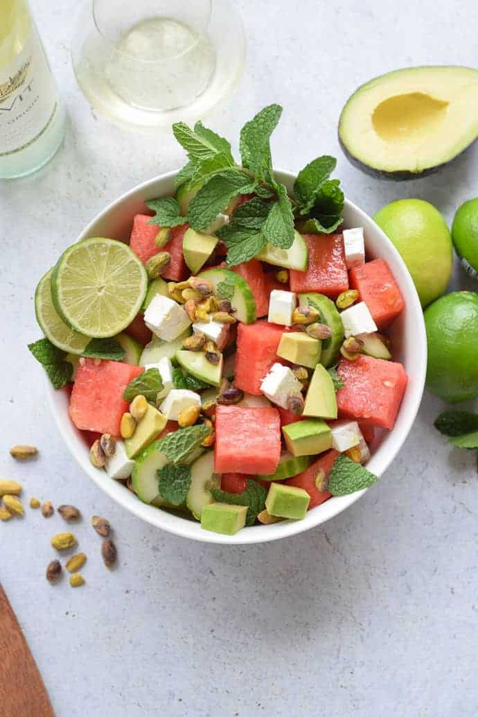 Watermelon Feta and Cucumber Salad with mint and avocado