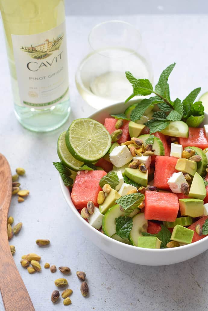 Watermelon and Cucumber Salad with avocado, mint and lime