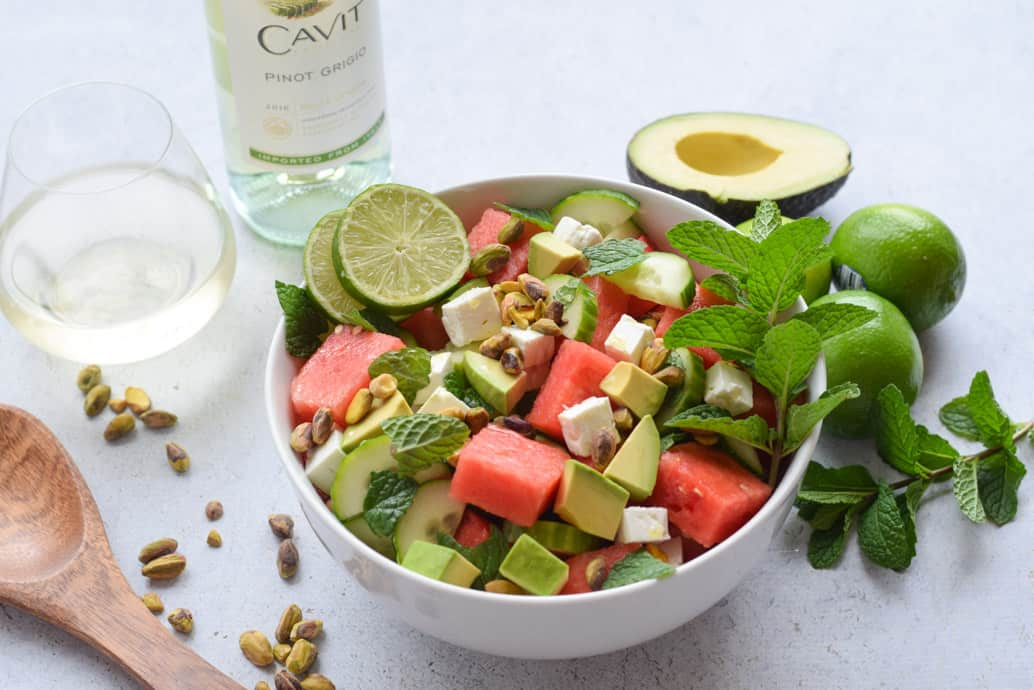 Watermelon Cucumber and feta Salad recipe with wine