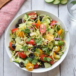 Greek Zucchini Noodle Salad
