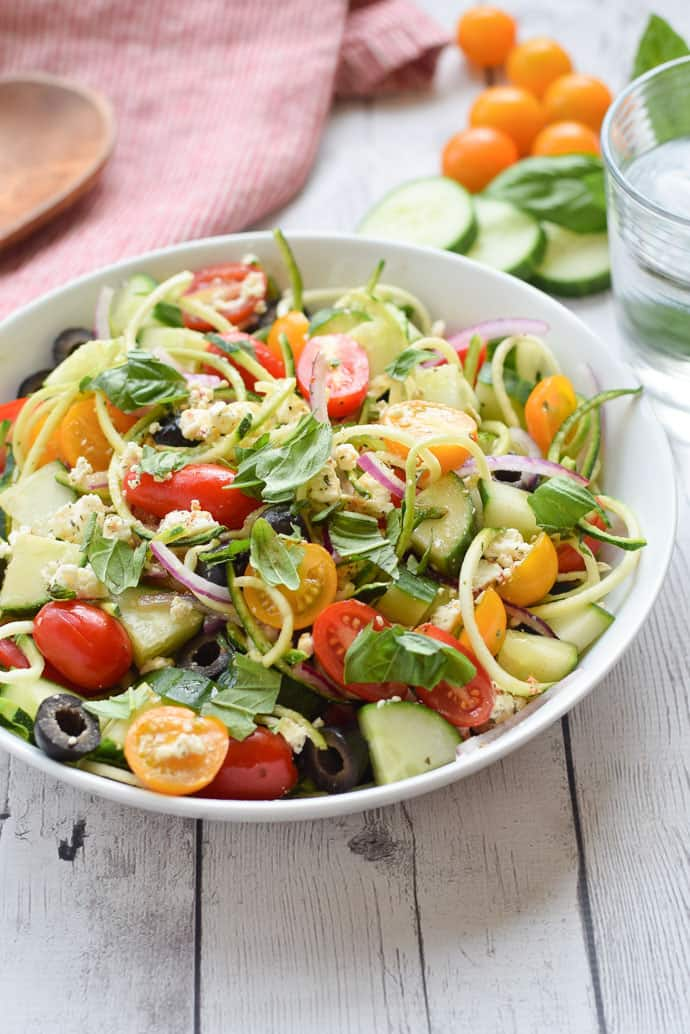 Greek Zucchini Noodle Salad close up in bowl