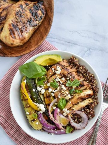 Healthy meal prep grilled chicken grain bowls