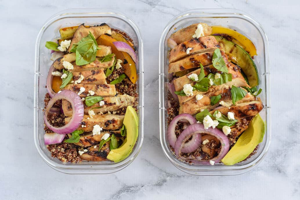 Meal Prep Grilled Chicken Grain Bowls in rubbermaid containers