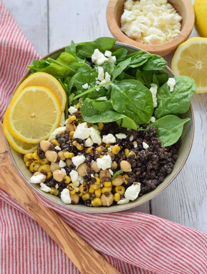 Black Lentil Salad with feta