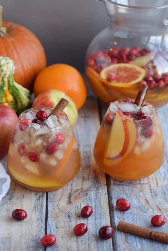 Pumpkin Apple Sangria in two glasses